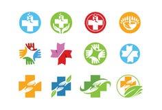 Medicinsk symbol eller logouppsättning Arkivbild