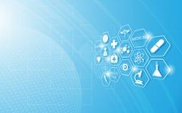 Medicinsk symbol för abstrakt hälsovård på blå innovationbegreppsbakgrund