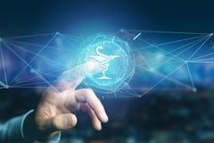 Medicinsk symbol för apotek på en futuristisk manöverenhet arkivbild