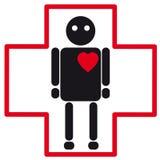 Medicinsk symbol för svart mänsklig kontur av hjärtafel Vektor Illustrationer