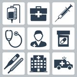 Medicinsk symbolsuppsättning för vektor Arkivfoto
