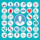 Medicinsk symbolsuppsättning i färgrikt rött & blått tema Arkivfoto