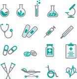 Medicinsk symbolsuppsättning i grå färger och kricka royaltyfri illustrationer