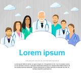 Medicinsk Team Doctor Group Flat Profile symbol Arkivbild