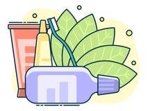 medicinsk uppsättning, begrepp av daglig muntlig hygien och tandvård vektor illustrationer