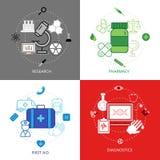 Medicinsk uppsättning för symboler för designbegrepp Arkivfoton