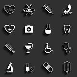 Medicinsk uppsättning för vektorlägenhetsymboler Royaltyfri Bild