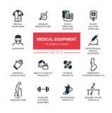 Medicinsk utrustning - den moderna enkla tunna linjen designsymboler, pictograms ställde in Royaltyfri Bild