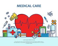 Medicinsk vårdbegrepp i den moderna plana linjen stil i hjärtaform Diagnos, vetenskap och mycket medicinsymboler baner stock illustrationer