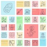 Medicinsk vektorlinje symbol av havandeskap och kvinnahälsa Beståndsdelar - gynekologistol, moderskap, reproduktion, havandeskapk Arkivfoto