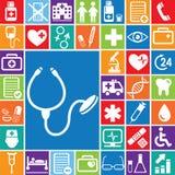 Medicinsk vektorsymbolsset_color Arkivbild