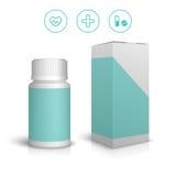 Medicinsk vit plast- flaska Stock Illustrationer