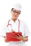 medicinska anmärkningar för gladlynt doktor som tar kvinnan Arkivfoton
