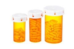 Medicinska isolerade preventivpillerflaskor Arkivbilder