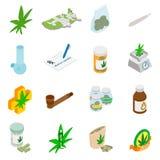 Medicinska marijuanasymboler royaltyfri illustrationer