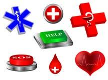medicinska nödlägesymboler för samling 3d royaltyfri illustrationer