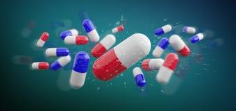 medicinska preventivpillerar för tolkning som 3d isoleras på en bakgrund Royaltyfria Bilder