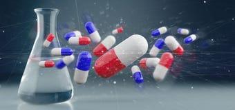medicinska preventivpillerar för tolkning som 3d isoleras på en medicinsk bakgrund Royaltyfri Bild