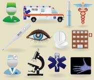 medicinska set symboler för symboler Arkivfoto