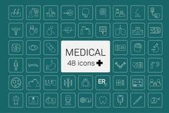 48 medicinska symboler royaltyfri illustrationer