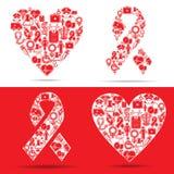 Medicinska symboler gör en hjärta och bistår formar vektor illustrationer
