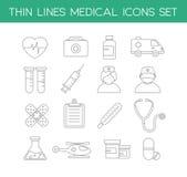 Medicinska symboler i den tunna linjen designstil Fotografering för Bildbyråer