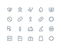 medicinska symboler Linje serie Royaltyfri Bild