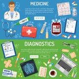 Medicinskt baner och infographics Arkivbilder