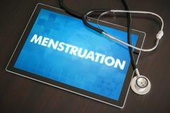 Medicinskt begrepp för menstruation (släkt menstruations- cirkulering) på minnestavlan arkivfoto
