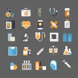 Medicinskt begrepp för sjukhusvård för tecken för utrustning för symbolsuppsättningmedicin royaltyfri illustrationer