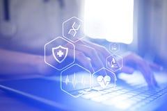 MEDICINSKT begrepp Vård- skydd Modern teknologi i medicin stock illustrationer