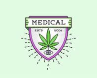 Medicinskt cannabismarijuanatecken eller etikettmall i vektor kunna Royaltyfri Foto