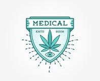 Medicinskt cannabismarijuanatecken eller etikettmall i vektor kunna stock illustrationer
