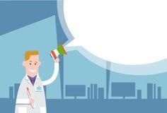 Medicinskt för pratstundbubbla för doktor Hold Megaphone Loudspeaker vitt utrymme för kopia vektor illustrationer