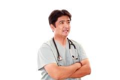 medicinskt le för asiatisk doktor fotografering för bildbyråer