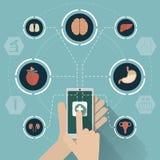 Medicinskt mobilt nätverkssymbolsbegrepp Arkivfoto