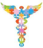 medicinskt pusselsymbol för caduceus Arkivbild