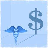 Medicinskt symbol för Caduceus som gjuter dollartecknet Arkivbild