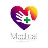 Medicinskt tecken för vektor med korset förestående i hjärta inom Symbol för doktorer, website, besökkort, symbol Violetgräsplan Royaltyfri Fotografi