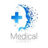 Medicinskt tecken för vektor med korset inom, mänsklig profil Symbol för doktorer, website, besökkort, symbol Blått färgar Royaltyfri Bild