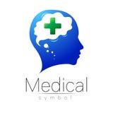 Medicinskt tecken för vektor med korset, människa, hjärna Symbol för doktorer, website, besökkort, symbol Blå grön färg Medicin Royaltyfria Foton