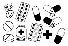 Medicinskt tecken (minnestavlor, preventivpillerar, kapseln) Arkivfoton