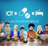 Medicinskt vård- begrepp för sjukvårdmedicinläkarbehandling Arkivfoto