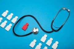 Medicinskt vård- begrepp, försäkring Stetoskop försäkring arkivfoto