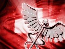 Medicinsymbol på röd bakgrund Royaltyfria Bilder