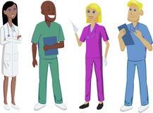 Medicinuppsättning med doktorn, sjuksköterskan, allmäntjänstgörande läkaren och kirurgen medicinsk personal Royaltyfria Foton