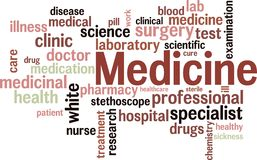 medicinwordcloud Arkivfoto