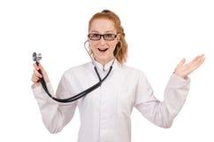 Medico abbastanza femminile con lo stetoscopio isolato sopra Fotografie Stock