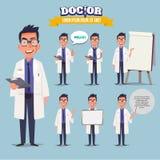 Medico astuto che presenta in varia azione Progettazione di carattere documento Immagine Stock