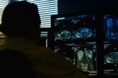 Medico che esamina esplorazione di MRI Fotografie Stock Libere da Diritti